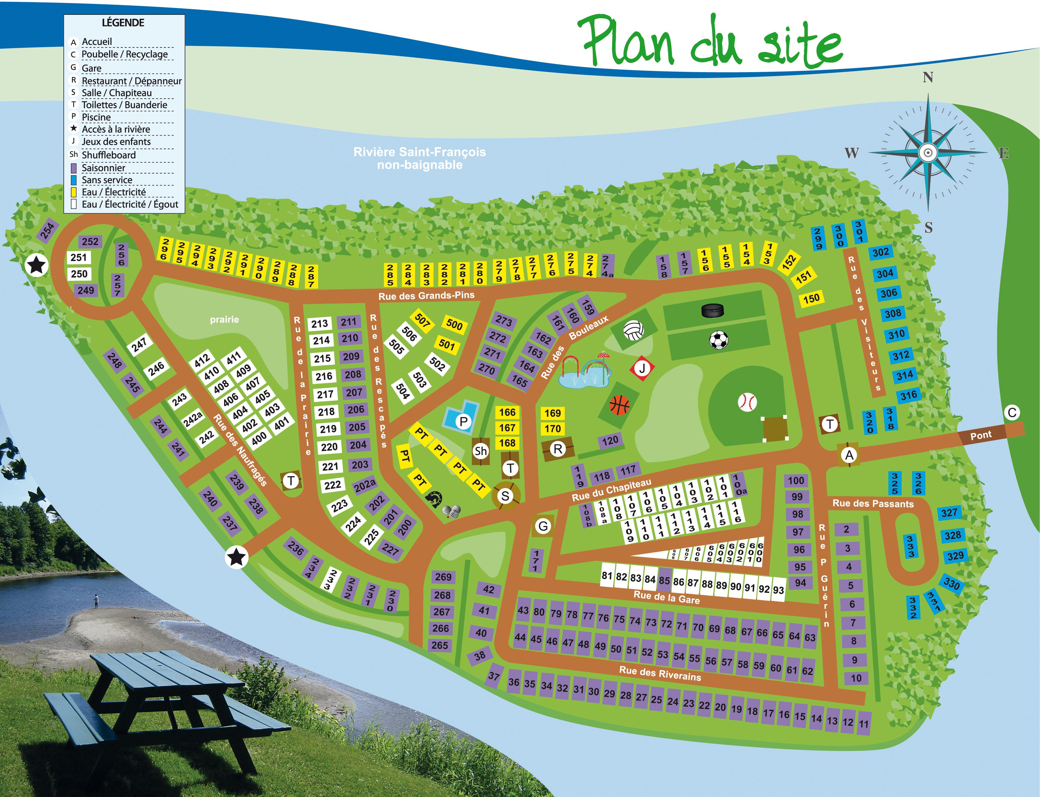 Camping Île-marie - Plan du site